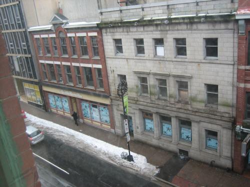 Empty storefronts on Barrington