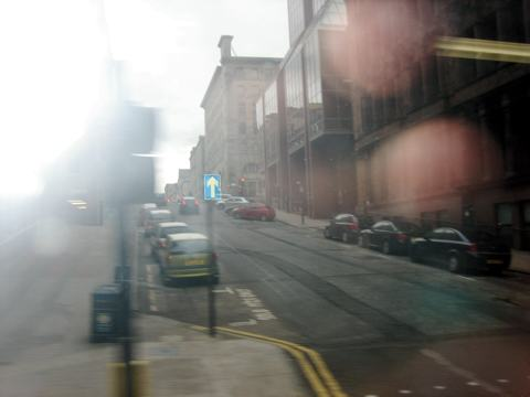 Hilly street in Glasgow, Scotland