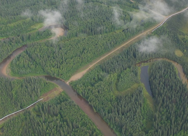 Pipeline going under river near Fairbanks Alaska