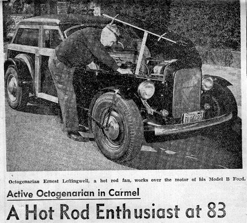 Newspaper Headline about Hot Rod Enthusiast at 83